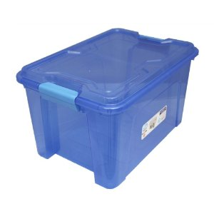 Organizador Multiuso de Plástico 20L Tampa e Travas Usual Plastic 41,7 × 29,2 × 23 cm - Cor: Azul Translúcido - Ref. 390