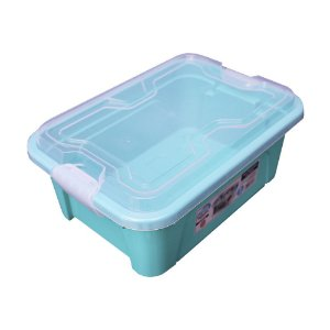 Organizador Multiuso de Plástico 5L Tampa e Travas Usual Plastic 30 × 21,5 × 13,5 cm - Cor: Verde Sólido - Ref. 416
