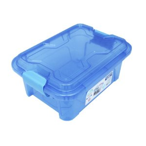 Organizador Multiuso de Plástico 5L Tampa e Travas Usual Plastic 30 × 21,5 × 13,5 cm - Cor: Azul Translúcido - Ref. 415