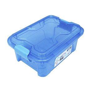 Organizador Multiuso de Plástico 3L Tampa e Travas Usual Plastic 25,5 x 19 x 11,5 cm - Cor: Azul Transl - Ref. 418