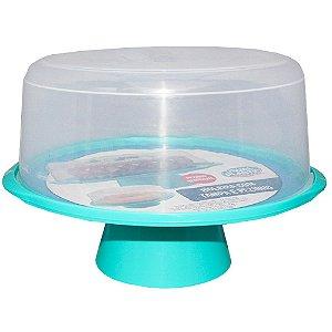 Boleira com Tampa e Pedestal de Plástico Usual Plástic 35 × 32,5 × 23,7 cm - Cor: Azul com Transparente - Ref. 381