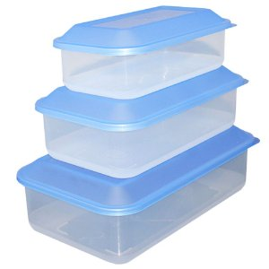 Kit com 3 Potes de Plástico Transparente com Tampa Azul Usual Plastic - Capacidades: 0,65L, 1,1L e 1,8L - Ref. 260