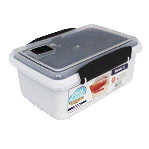 Marmita com Tampa Preto Translúcido Usual Plastic com Trava e Válvula de 1 Litro  Med: 17,2 × 11,8 × 7,8 cm - Ref. 256
