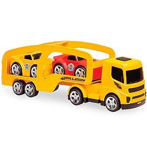 Caminhão Falcon Cegonheira com Dois Mini Carros Usual Plastic Brinquedos - Ref. 163