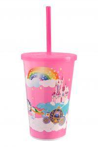 Copo de Plástico Decorado com Tampa e Canudo Usual Plastic 550 ml - Motivo: Menina - Ref. 420