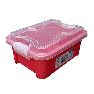 Organizador Multiuso de Plástico 3L Tampa e Travas Usual Plastic 25,5 x 19 x 11,5 cm - Cor: Vermelho Sólido - Ref. 419