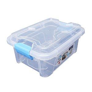 Organizador Multiuso de Plástico 3L Azul Tampa e Travas Usual Plastic 25,5 x 19 x 11,5 cm - Cor: Transparente - Ref. 417