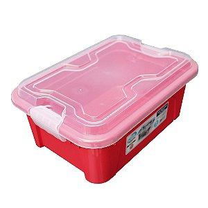 Organizador Multiuso de Plástico 5L Tampa e Travas Usual Plastic 30 × 21,5 × 13,5 cm - Cor: Vermelho Sólido - Ref. 416
