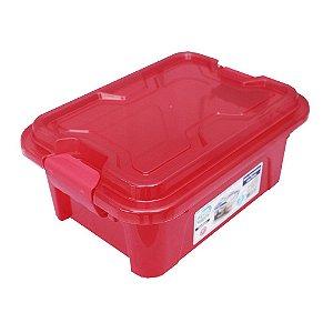 Organizador Multiuso de Plástico 5L Tampa e Travas Usual Plastic 30 × 21,5 × 13,5 cm - Cor: Vermelho Trans - Ref. 415