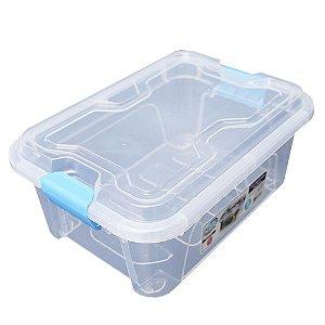 Organizador Multiuso de Plástico 5L Azul Tampa e Travas Usual Plastic 30 × 21,5 × 13,5 cm - Cor: Transp - Ref. 414