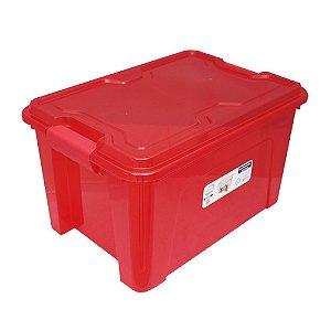 Organizador Multiuso de Plástico 20L Tampa e Travas Usual Plastic 41,7 × 29,2 × 23 cm - Cor: Vermelho Translú - Ref. 390
