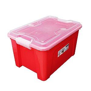 Organizador Multiuso de Plástico 20L Tampa e Travas Usual Plastic 41,7 × 29,2 × 23 cm - Cor: Vermelho Sólido - Ref. 389