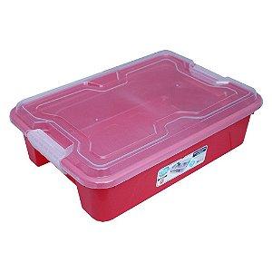 Organizador Multiuso de Plástico 10L Tampa e Travas Usual Plastic 41,7 × 29,2 × 12,2 cm - Cor: Vermelho Sólido -Ref. 376