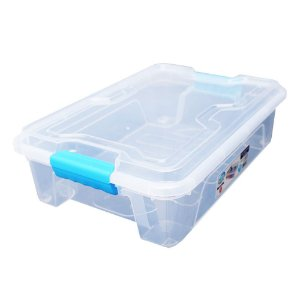 Organizador Multiuso de Plástico 10L Azul Tampa e Travas Usual Plastic 41,7 × 29,2 × 12,2 cm - Cor: Transp - Ref. 366