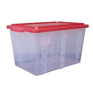 Organizador Multiuso de Plástico 35L Tampa e Travas Usual Plastic 52 x 34 x 29 cm - Cor: Vermelho Translúcido - Ref. 305