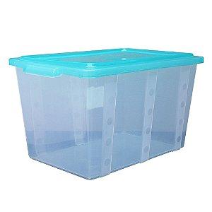 Organizador Multiuso de Plástico 35L Tampa e Travas Usual Plastic 52 x 34 x 29 cm - Cor: Verde Translúcido - Ref. 304