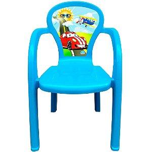 Cadeira Infantil Decorada de Plástico Usual Plastic 35 x 32 x 51 cm - Modelo: Azul Carro - Ref. 274
