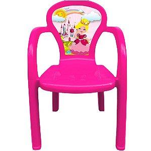 Cadeira Infantil Decorada de Plástico Usual Plastic 35 x 32 x 51 cm - Modelo: Pink Princesa - Ref.