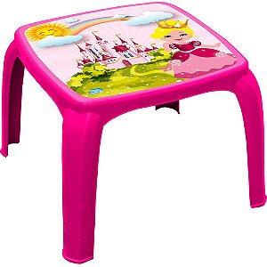 Mesa Infantil Decorada de Plástico Usual Plastic 57 x 57 x 45 cm - Modelo: Pink Princesa - Ref. 271