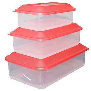 Kit com 3 Potes de Plástico Transparente com Tampa Vermelha Usual Plastic - Capacidades: 0,65L, 1,1L e 1,8L - Ref. 260