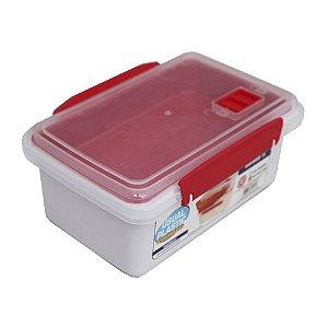 Marmita com Tampa Vemelho Translúcido Usual Plastic com Trava e Válvula de 1 Litro Med: 17,2 × 11,8 × 7,8 cm - Ref. 256