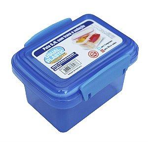 Pote com Tampa Azul Translúcido Usual Plastic com Trava e Vedação 0,4 Litros - Medidas: 11,3 x 8,5 x 7,8 cm - Ref. 242