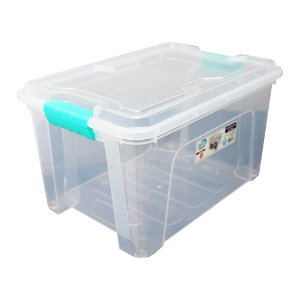 Organizador Multiuso de Plástico 20L Verde Tampa e Travas Usual Plastic 41,7 × 29,2 × 23 cm - Cor: Transp - Ref. 388