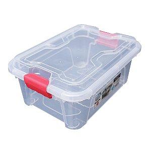 Organizador Multiuso de Plástico 5L Vermelho Tampa e Travas Usual Plastic 30 × 21,5 × 13,5 cm - Cor: Transp - Ref. 414