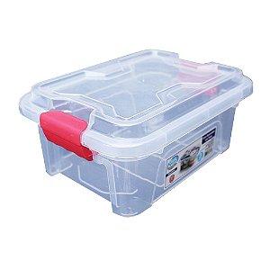 Organizador Multiuso de Plástico 3L Vermelho Tampa e Travas Usual Plastic 25,5 x 19 x 11,5 cm - Cor: Transp - Ref. 417