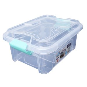 Organizador Multiuso de Plástico 3L Verde Tampa e Travas Usual Plastic 25,5 x 19 x 11,5 cm - Cor: Transp - Ref. 417