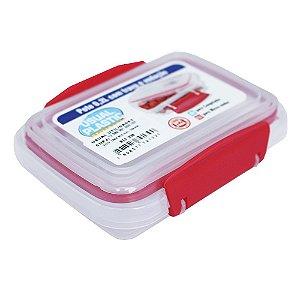 Pote com Tampa Vermelho Translúcido Usual Plastic com Trava e Vedação 0,2 Litros - Medid: 11,3 x 8,5 x 3,9 cm - Ref. 238