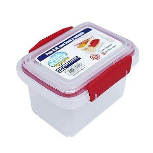 Pote com Tampa Vermelho Translúcido Usual Plastic com Trava e Vedação 0,4 Litros - Medid: 11,3 x 8,5 x 7,8 cm - Ref. 241