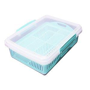 Porta Frios com Bandeja e Divisória 2L Usual Plastic de Plástico Transp 23,1 × 17,3 × 7,8 cm - Cor: Azul- Ref. 393