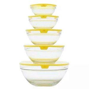 Conjunto de 5 Bowls Bon Gourmet de Vidro com Tampa de Plástico Amarelo - Ref. 25622