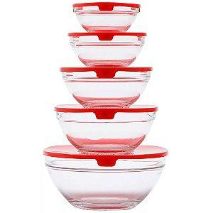 Conjunto de 5 Bowls Bon Gourmet de Vidro com Tampa de Plástico Vermelho - Ref. 25622