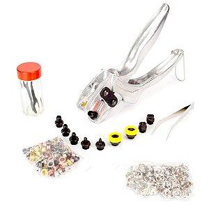 Alicate Furador e Fixador Chines Metálico Furador 9 para Couro, Plástico e Borracha com 6 Bicos de 2 a 4,5 mm