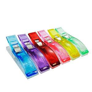 Kit de Clips Pregador Coloridos para Papel e Tecido com 6 unidades - Tamanho de 6 cm