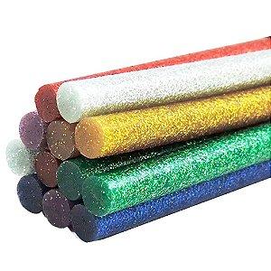 Conjunto de Bastões de Cola Quente Colorida com Glitter de 0,6 mm com 12 unidades