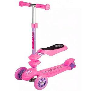 Patinete com 3 Rodas Fenix 3 em 1 com Assento e Capacidade de até 60 Kg - Cor: Rosa