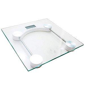 Balança Digital Quadrada com Visor LCD em Vidro Temperado Resistência de Até 180 Kg