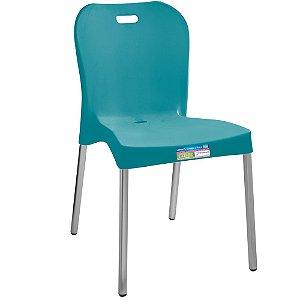 Cadeira com Pé de Alumínio Sem Braço Paramount Cor Turquesa  - Ref. 362