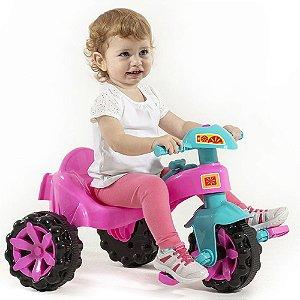 Velotrol Triciclo com Empurrador Infantil Toy Kids Rosa até 15 Kg Paramount - Ref. 908