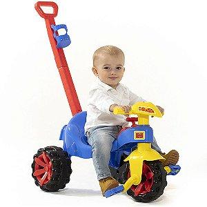 Velotrol Triciclo com Empurrador Infantil Toy Kids Azul até 15 Kg Paramount - Ref. 908