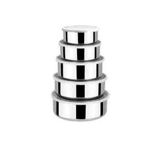 Conjunto de Pote de Inox com Tampa Plástica com 5 Pecas