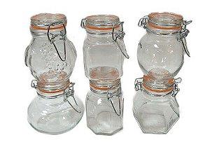 Conjunto de Potes para Condimentos Casa Ambiente 6 Peças Transparente - Ref. POVI117