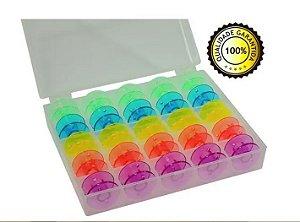 25 Bobina Carretilha Alta Plástica Coloridas