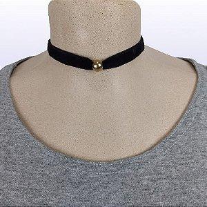 Gargantilha modelo Choker em fita de veludo - Pingente Esférico Ouro Velho