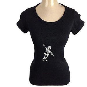 Camiseta T-shirt Baby Look Bordada a Mão - Caveira/Esqueleto