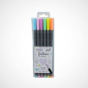 CANETA BRW FINELINER 0.4 6 CORES TONS PASTEL