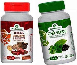Chá Verde 60 E Termogenico Seca Cintura 60 Cáps Reduzir Peso